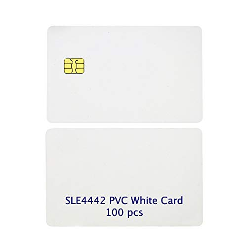 Gialer 100 Pack ISO PVC Card with SLE4442 Chip Blank Smart Card Contact IC Card Safe White Key Card for Access Control No Printing