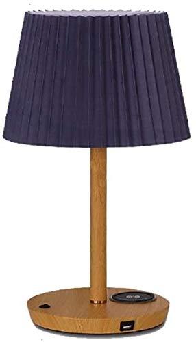 APXZC Lámpara de Mesa de Madera lámpara de Mesa lámpara de Noche para Dormitorio con Pantalla de Tela, con Puerto USB para Carga y lámpara de Noche de Carga inalámbrica-Kegel_Blau + Holz