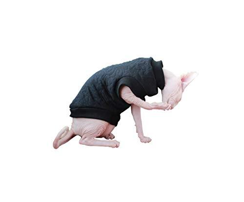 khemn Designer Schwarz Cat warme Kleidung Pullover mit dick fleece-best für haarlose Katze