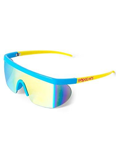 Unisex Performance Sport Style Retro Mirrored Sunglasses (Neon Blue Jam Blasters, 5.75)