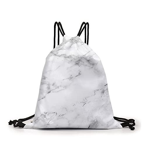 GO-AHEAD Bolsas de cordón con cordón Mochila de mármol blanco 3D impresa bolsa bolsa monedero bolsa con cordón (color: D60359)