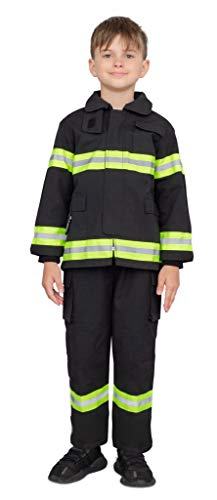 Custom Fireman Fire Fighter Child Costume Jacket and Pants Set Black