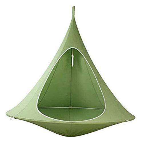 WERTYG Kids Conical Hammock Chair, Folding Camping Tent, Tree Hanging Silkworm Cocoon Indoor Outdoor Waterproof Swing Chair Garden Bed,Green ( Color : B )