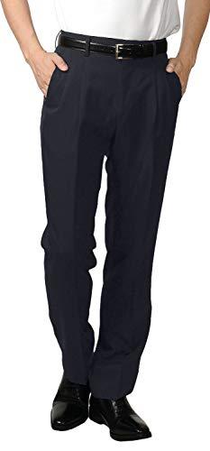 733983rb-75-10053 R&N 大きいサイズ 裾上げ済 スラックス ツータック ビジネス パンツ ウォッシャブル クールビズ 春夏 夏 清涼 洗える パンツ (col. 75 ネイビー, W 100cm L 73cm)