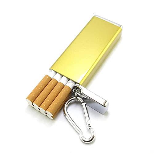 Estuche de cigarrillos de metal portátil de moda y cenicero llavero bolsillo al aire libre a prueba de humedad caja de cigarrillos bolsa de almacenamiento YB98AJC-JinSe-8pcs