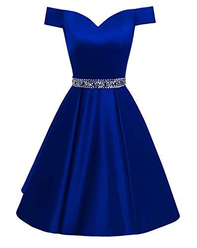 Off the Shoulder Royal Blue Short Dress for Wedding