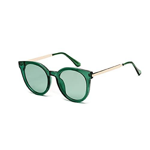 JINZUN Gafas de Sol con Montura de Cristal Gafas de Sol de Moda Gafas Retro con Lentes de océano Gafas de protección UV