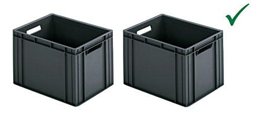 Handige ringoplast van een praktische set. 2 x kunststof kisten stapelbox opslagbox transportbox 40 x 30 x 26 cm box grijs universeel hoog belastbaar