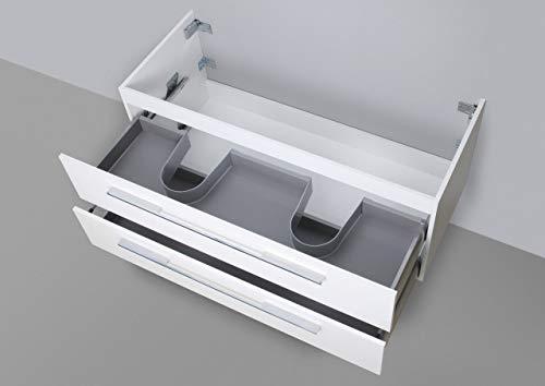 Intarbad ~ Unterschrank zu Duravit ME by Starck Doppelwaschtisch 130 cm Waschbeckenunterschrank Grau Matt Lack IB5248