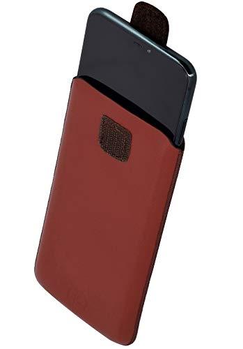 Favory Tasche Etui kompatibel mit Beafon M6 Hülle aus echtes Leder Schutzhülle (Lasche mit Rückzugfunktion) in braun