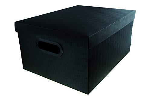 Caixa Organizadora Linho Media Preta, Protêa, 2192.P.0005, Preto