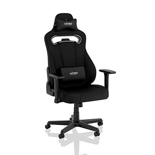 NITRO CONCEPTS E250 Gaming Stuhl - Bürostuhl Ergonomisch Schreibtischstuhl Zocker Stuhl Gaming Sessel Drehstuhl mit Rollen Stoffbezug Belastbarkeit 125 Kilogramm Schwarz