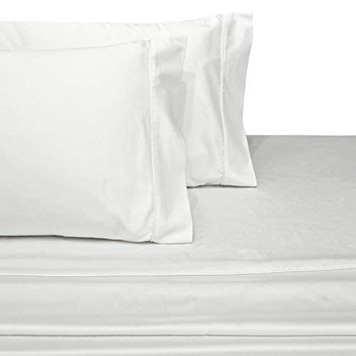 Online Bedding Linen 800 Thread Count 100% Egyptian Cotton 18 Inches Deep Pocket Sheet Set, White Solid Twin XL Sheets 4 Piece Set