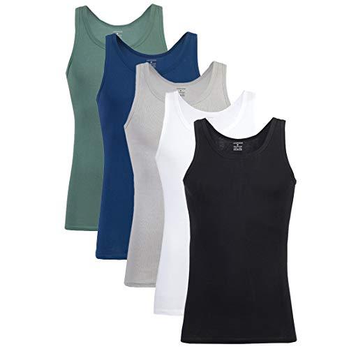 Falechay Camiseta Tirantes para Hombre Pack de 5 de Algodón 100% Camisetas Interiores Deporte más Colores Negro Blanco Gris Azul Marino Olive 3XL