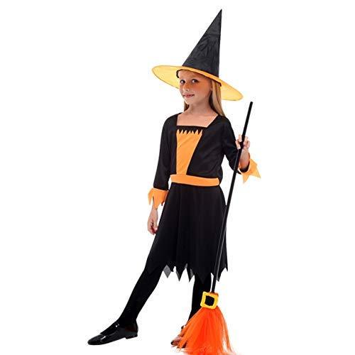 CHNWSJ kostuum voor halloween kinderen heks met hoed cosplay kostuums laat kostuums meisjes heksen mantels heksen sprongen dress up S G-0300