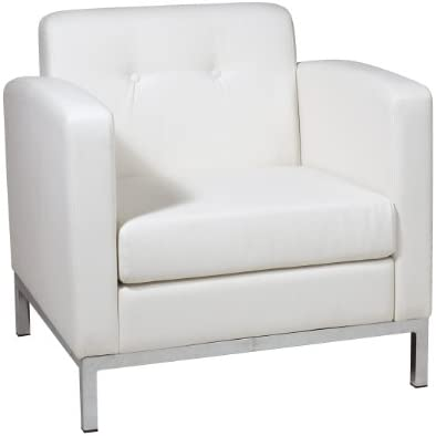 Best AVE SIX Wall Street Faux Leather Armchair with Chrome Finish Base, White