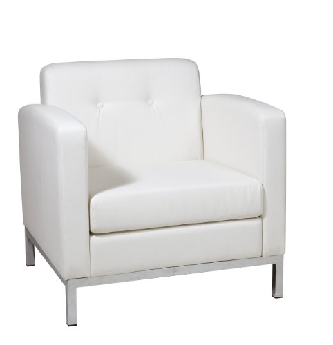 OSP Home Furnishings Wall Street Faux Leather Armchair with Chrome Finish Base, White