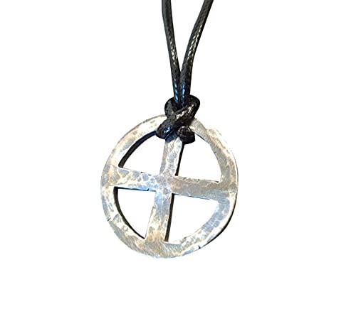 925 Sterling Silver Hand Hammered Solar Cross, Sun Cross, Sun Wheel Pendant Necklace