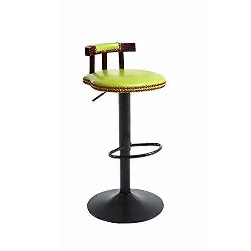 Barkruk, Faux Lederen Zitting, Draaibare Ontbijtkeukenstoel Met Massief Houten Rugleuning En Metalen Voetensteun P-4.2 (Color : Style-B)