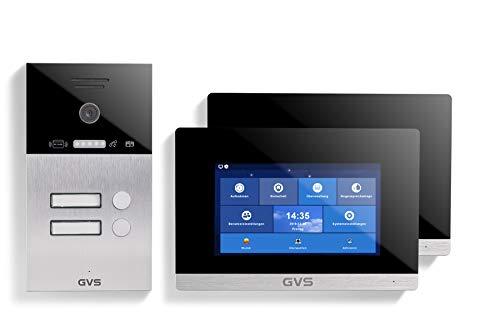 GVS IP Video Türsprechanlage, Aufputz-Türstation IP65 mit RFID, 2X 7 Zoll Monitor, Handy-App, HD-Kamera 120°, Türöffner-Funktion, 32GB, PoE-Switch, 2 Familienhaus Set, AVS4040A