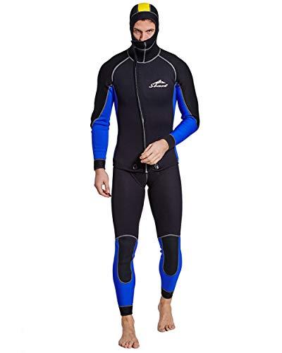 3Mm Premium Neoprene Due Pezzi Completi Dive Corpo della Pelle con Cappuccio Mute Uomo per La Pesca Subacquea, Snorkeling, Surf, Canoa, Immersioni Scafandro,M