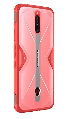 NOKOER Hülle für Nubia Red Magic 5G/5S, Durchsichtig PC + Weich Silikon TPU Zusammengebaut Hülle, with Flexibel Stoßfestt, Superdünn rutschfest Handyhülle für Nubia Red Magic 5G/5S (Rot)