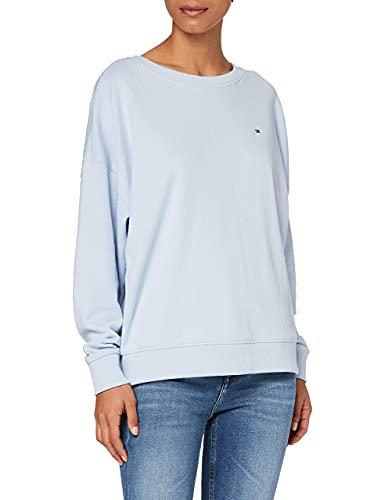 Tommy Hilfiger Oversized Open-NK Sweatshirt LS Sudadera, Azul Breezy, L para Mujer