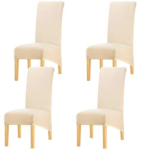 KELUINA Estiramiento sólido con respaldo alto Cubiertas de silla XL para comedor, fundas de silla de comedor grandes de Spandex para la vida en el hogar Restaurante Hotel (4 PACK,De crema)