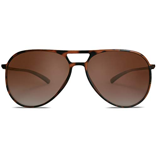 SOJOS Handgemacht Ultra Leicht Super Elastisch TR90 Pilot Damen Herren Sonnenbrille Polarisiert SJ2065 mit Demi Rahmen/Braun Linse