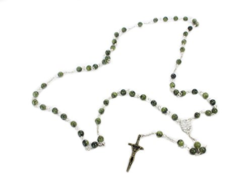 Biddy Murphy Connemara Marble Rosary Beads Celtic Cross 24 ¼ Inches Long Handcrafted in Ireland
