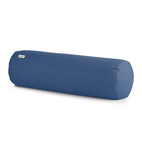 basaho Bolster Yoga | Algodón Orgánico (Certificación Gots) | Cáscara de Trigo Sarraceno | Funda Extraíble Lavable (Azul Empolvado)