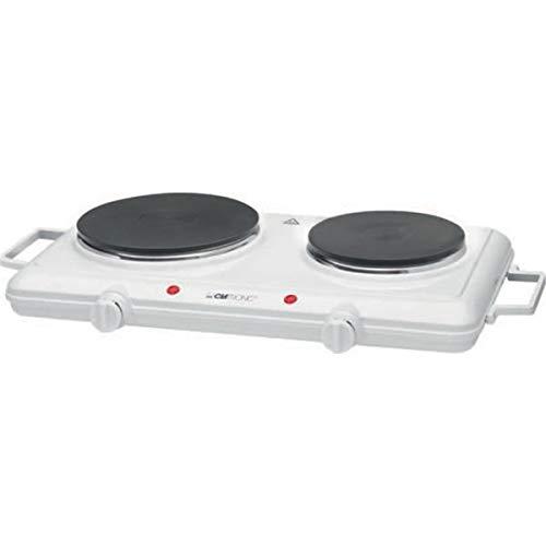 Clatronic Doppelkochplatte DKP 3583, 2 Kochplatten, stufenlos regelbare Thermostate, hohe Standfestigkeit, weiß