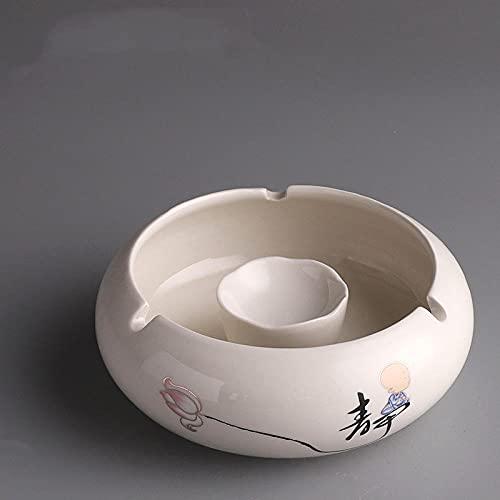 Cenicero de oficina en casa de sala de estar multifunción de cerámica retro europea-Silencioso - Cenicero 14.2 * 11 * 5cm