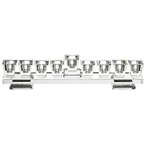 MASORET Set:Elegant Fine Glass Menorah 10.6' 2.7' with 5 Small Wooden Dreidels N.G.H.Sham