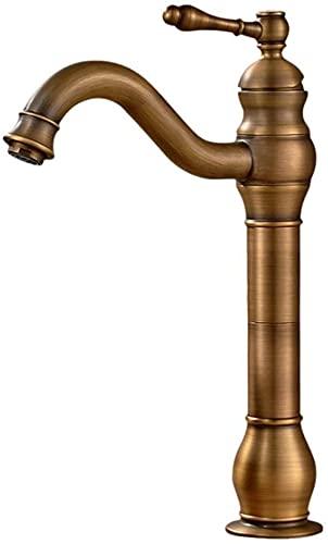 Badrums kran 360 ° roterbar singelsånge kran, antik nostalgisk olja frostat borstad brons, handfat kran bänkskiva mässing kran
