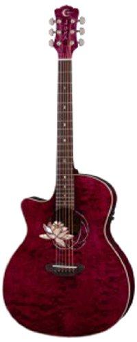 Luna Guitars Flora Lotus FLO LOT QM L Elektroakustische Gitarre, für Linkshänder, aus Ahornholz