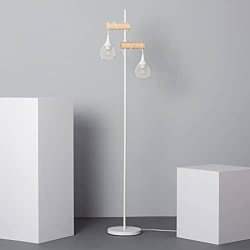 LEDKIA LIGHTING Lámpara de Pie Monah Smart WiFi con Regulador 1640x370x250 mm Blanco E27 Casquillo Gordo Aluminio - Madera Decoración Salón, Habitación, Dormitorio