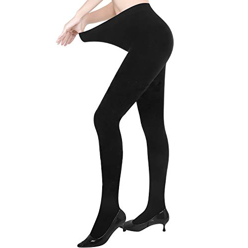 Pvendor Opaque Fleece Lined Tights Women Winter Warm Thermal Thick Tights Cotton (S Size, Black)