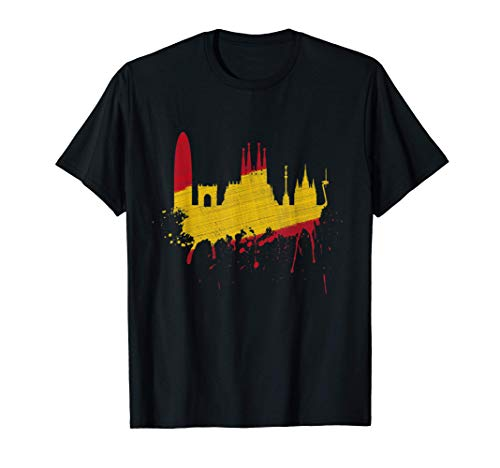 Barcelona Skyline Spanien Flagge Fahne Liebe Sagrada Familia T-Shirt
