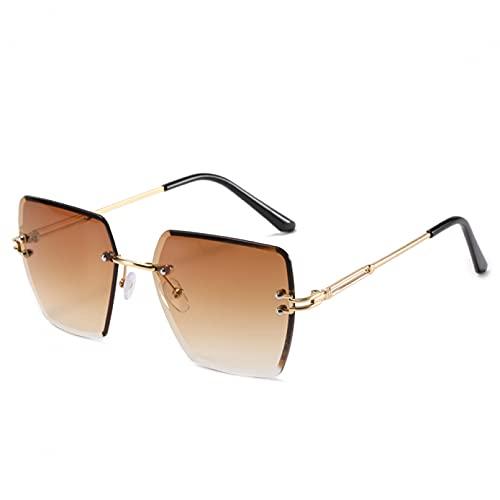 SXRAI Gafas de Sol de polígono de Gran tamaño para Mujer, Gafas de Sol sin Montura Moda, Gafas de Sol para Mujer, Azul,C7