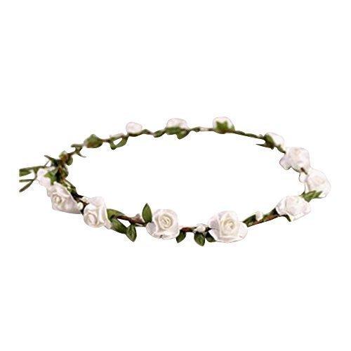 Ladies Floral Flower Festival Wedding Hair Garland Flower Crown Head Band 9 Colours (White)