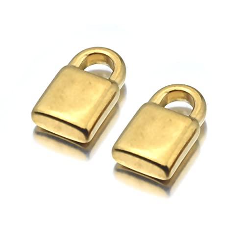 BOSAIYA PJ 2 unids Accesorios de Acero Inoxidable Mujer Joyería Joyería Cerradura de Oro Encantos Colgante para Bricolaje Collar Pendiente de joyería Haciendo Accesorios TL817 (Metal Color : Gold)
