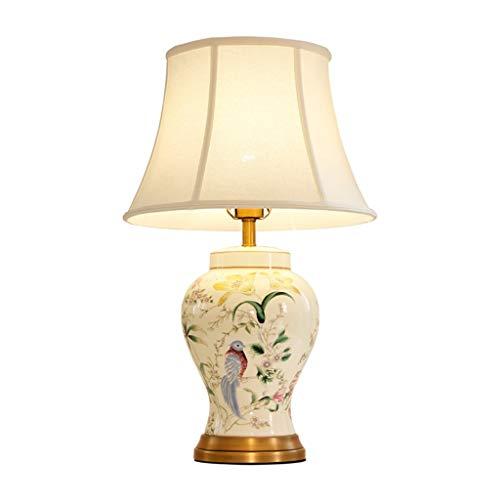 Lampara Mesilla Lámpara de mesa de cerámica de diseño de moda pintada a mano con luz de lujo dormitorio dormitorio lámpara Lámparas de escritorio (tamaño : M)