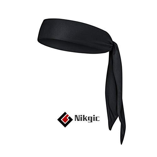 Nikgic Tennis Headband Bandana Running Stirnband Schweißband Stirnband für Tennis Rennen Joggen Volleyball Yoga-Schwarz