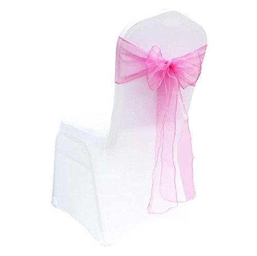 MoGist 25 lazos de organza para sillas, para bodas, banquetes, fiestas de cumpleaños, decoración (rosa profundo)
