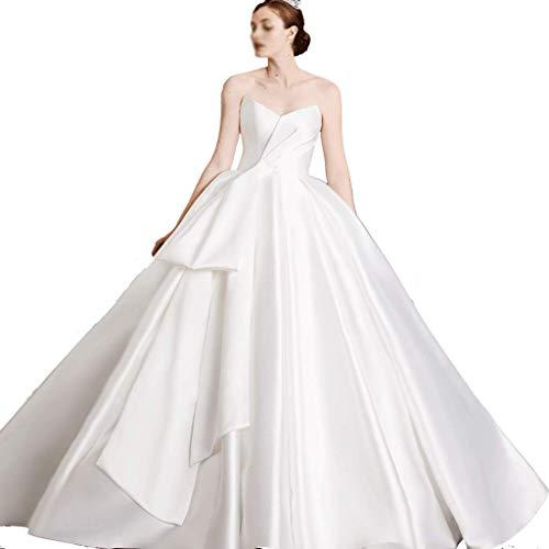 CAIM-Kleider Hochzeit Satin Plissee Lange Brautkleid Trompete Party Empire Taille Langes Abendkleid (Color : White, Größe : L)