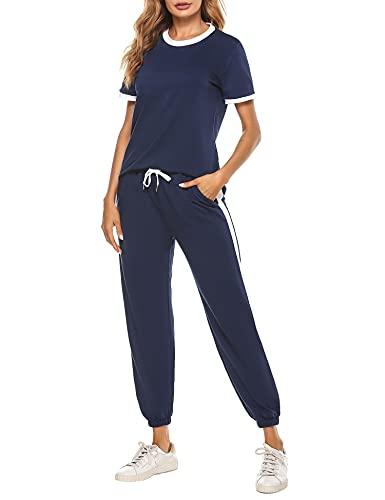 Hawiton Conjunto de chándal para Mujer de Algodón Verano Corto, Conjunto de Sudadera Mujer Corto con Chaqueta y Pantalon para Fitness Jogger Tenis Tallas Grandes 2 Piezas, Azul Oscuro, L