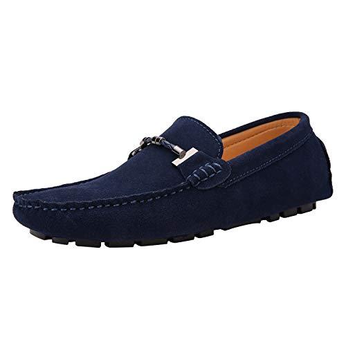 Yaer Uomo Elegante Mocassini Slip On Penny Loafers Scarpe di Guida Casuale Scamosciato Pelle Pantofola Marino 48