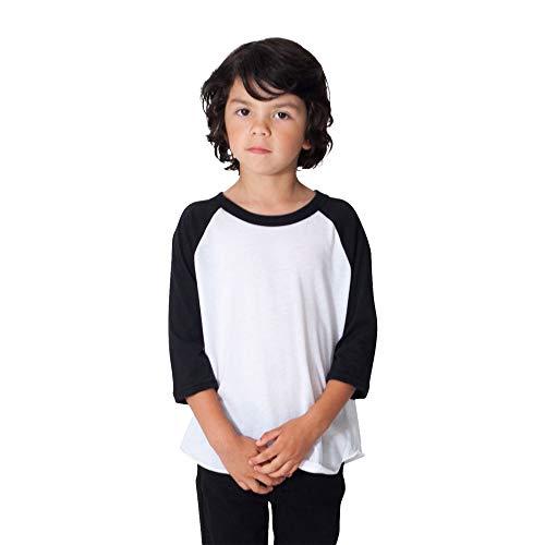 American Apparel Unisex Kids' 50/50 3/4 Sleeve Raglan, White/Black, 6T