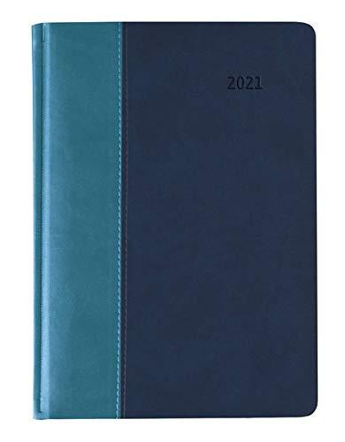 Buchkalender Premium Water türkis-blau 2021 - Büro-Kalender A5 - Cheftimer - 1 Tag 1 Seite - 416 Seiten - Tucson-Einband - Alpha Edition